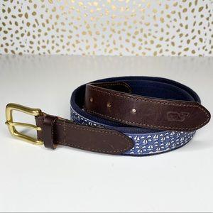 Vineyard Vines Sailboat Leather Canvas Belt